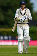 Tim Murtagh of Middlesex dismissed by Marchant De Lange of Glamorgan and heads to the pavilion during the Specsavers County Champ Div 2 match between Middlesex County Cricket Club and Glamorgan County Cricket Club at Radlett Cricket Ground, Radlett, Herfordshire,United Kingdom on 17 June 2019.