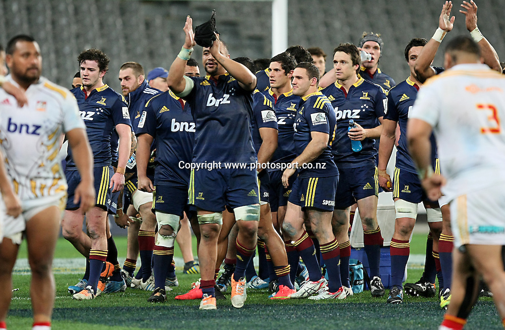 Highlanders celebrate their win in the Super 15 rugby match, Highlanders v Chiefs, Forsyth Barr Stadium, Dunedin, New Zealand, Friday, June 27, 2014. Photo: Dianne Manson / www.photosport.co.nz