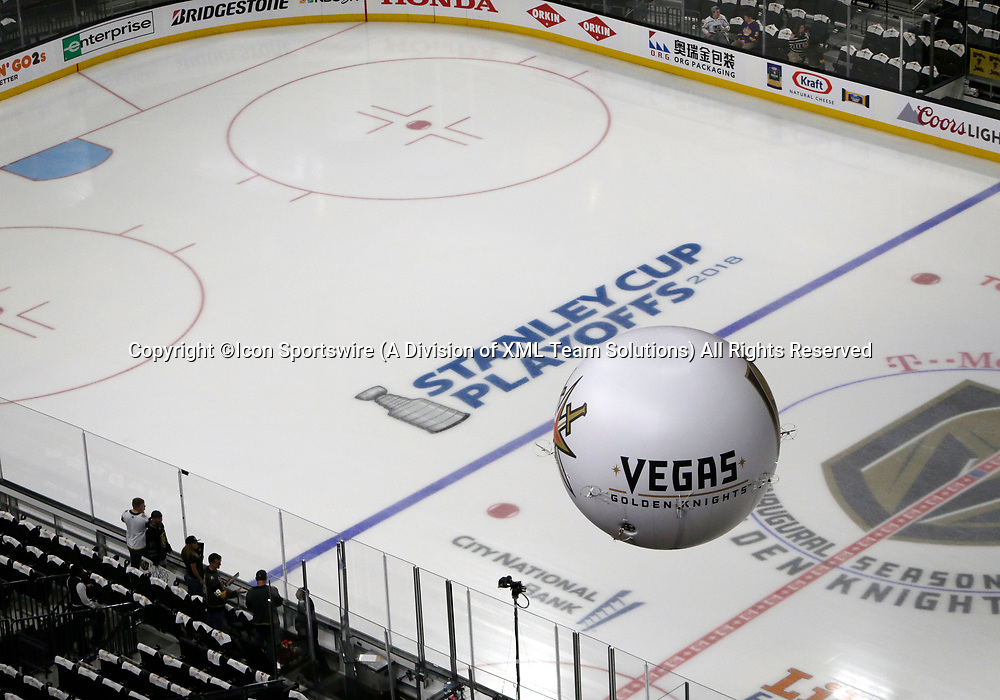 LAS VEGAS, NV - APRIL 11: A general view of the VGKUFO before Game One of the Western Conference First Round of the 2018 NHL Stanley Cup Playoffs between the L.A. Kings and the Vegas Golden Knights Wednesday, April 11, 2018, at T-Mobile Arena in Las Vegas, Nevada. (Photo by: Marc Sanchez/Icon Sportswire)