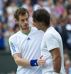 LONDON, ENGLAND - Friday, July 1, 2011: Andy Murray (GBR) shakes hands with Rafael Nadal (ESP) after the Gentlemen's Singles Semi-Final match on day eleven of the Wimbledon Lawn Tennis Championships at the All England Lawn Tennis and Croquet Club. (Pic by David Rawcliffe/Propaganda)