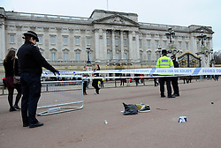 The scene at Buckingham Palace after police fired a taser at a man carrying a knife, Sunday, 3rd February 2013. Photo by: i-Images