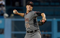 April 14, 2017 - Los Angeles, California, U.S. - Arizona Diamondbacks starting pitcher Zack Greinke throws to the plate against the Los Angeles Dodgers in the second inning of a Major League baseball game at Dodger Stadium on Friday, April 14, 2017 in Los Angeles. (Photo by Keith Birmingham, Pasadena Star-News/SCNG) (Credit Image: © San Gabriel Valley Tribune via ZUMA Wire)