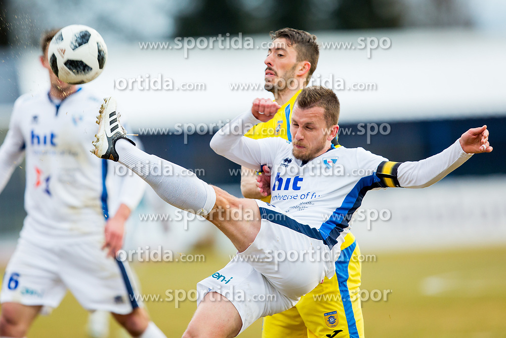 Dejan Zigon of ND Gorica and Agim Ibraimi of NK Domzale during football match between NK Domzale and ND Gorica in Round #22 of Prva Liga Telekom Slovenije 2017/18, on March 10, 2018 in Sports park Domzale, Domzale, Slovenia. Photo by Ziga Zupan / Sportida