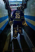 PENTICTON, CANADA - SEPTEMBER 11: Thatcher Demko #35 of Vancouver Canucks walks the tunnel to the ice against the Edmonton Oilers on September 11, 2017 at the South Okanagan Event Centre in Penticton, British Columbia, Canada.  (Photo by Marissa Baecker/Shoot the Breeze)  *** Local Caption ***