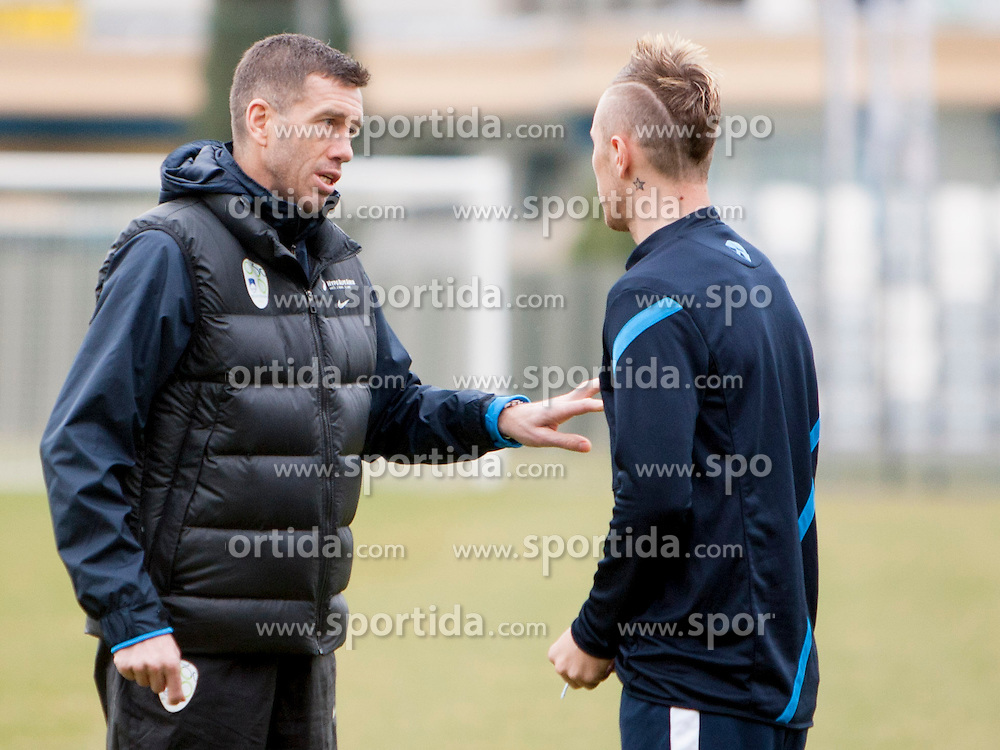 Srecko Katanec and Jasmin Kurtic during training session of Slovenian National football team before World Cup Qualifications match against Iceland on March 20, 2013 in Bonifika, Koper, Slovenia. (Photo By Urban Urbanc / Sportida.com)