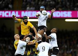 Fiji Lock Tevita Cavubati wins a line out  - Mandatory byline: Joe Meredith/JMP - 07966386802 - 23/09/2015 - Rugby Union, World Cup - Millenium Stadium -Cardiff,Wales - Australia v Fiji - Rugby World Cup 2015 - Pool A