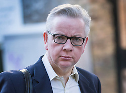 """© Licensed to London News Pictures. 14/05/2018. London, UK. Environment Secretary Michael Gove leaves home. Mr Gove has stated that there were """"significant question marks"""" about the proposals for a customs partnership after Brexit.  Photo credit: Peter Macdiarmid/LNP"""