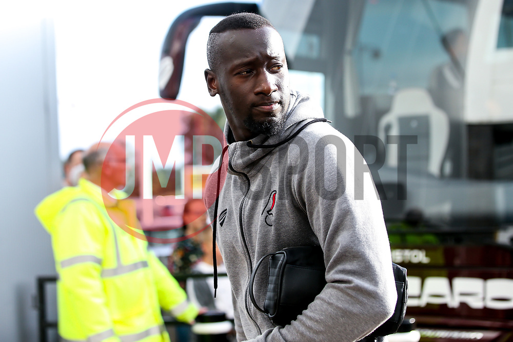 Famara Diedhiou of Bristol City arrives at Pride Park for the Sky Bet Championship fixture against Derby County - Mandatory by-line: Robbie Stephenson/JMP - 20/08/2019 - FOOTBALL - Pride Park Stadium - Derby, England - Derby County v Bristol City - Sky Bet Championship