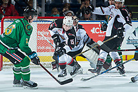 KELOWNA, CANADA - MARCH 18: Owen Hardy #15 of the Vancouver Giants shoots the puck away from the net against the Kelowna Rockets  on March 1, 2018 at Prospera Place in Kelowna, British Columbia, Canada.  (Photo by Marissa Baecker/Shoot the Breeze)  *** Local Caption ***