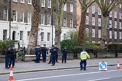 London, UK. 12th February, 2019. The Metropolitan Police carry out monitoring checks on vehicles passing along Kennington Road in Lambeth.