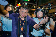 HK journalist Ronson Chan just after being pepper sprayed by the police<br /> <br /> Violent clashes in Mong Kok, Protesters form new blockades after a night of chaotic clashes with police<br /> <br /> 20th day of pro-democracy protest in Hong Kong