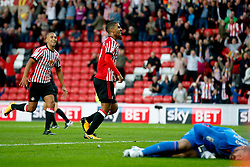 Lewis Grabban of Sunderland celebrates after scoring the equalising goal to make it 1-1 - Mandatory by-line: Matt McNulty/JMP - 04/08/2017 - FOOTBALL - Stadium of Light - Sunderland, England - Sunderland v Derby County - Sky Bet Championship