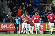 Manchester United Forward Marcus Rashford celebrates his goal with Manchester United Defender Luke Shaw and Manchester United Midfielder Jesse Lingard during the Premier League match between Cardiff City and Manchester United at the Cardiff City Stadium, Cardiff, Wales on 22 December 2018.