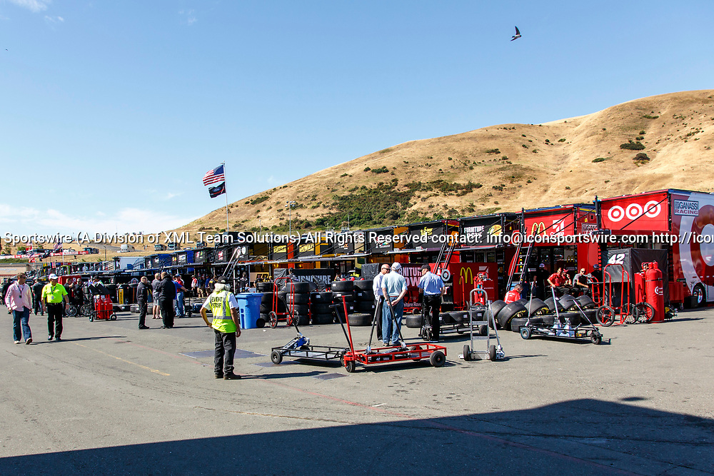 SONOMA, CA - JUNE 24:  Team trailers lined up during preparation for qualifying at the Monster Energy NASCAR Cup Series Qualifying held June 24, 2017 at Sonoma Raceway in Sonoma, CA. (Photo by Allan Hamilton/ICON Sportswire)Sportswire)