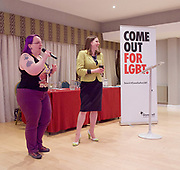 Stonewall and Liberal Democrats LGBTQ fringe meeting.<br /> Bournemouth, Great Britain <br /> 17th September 2017. <br /> <br /> Jennie Rigg <br /> Chair <br /> <br /> Jo Swinson <br /> Deputy Leader of the Liberal Democrats <br /> <br /> Photograph by Elliott Franks <br /> Image licensed to Elliott Franks Photography Services