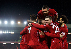 LIVERPOOL, ENGLAND - Sunday, December 16, 2018: Liverpool's substitute Xherdan Shaqiri (2nd from L) celebrates scoring the second goal with team-mates Roberto Firmino, Georgina Wijnaldum, Andy Robertson, Dejan Lovren and Mohamed Salah during the FA Premier League match between Liverpool FC and Manchester United FC at Anfield. Liverpool won 3-1. (Pic by David Rawcliffe/Propaganda)