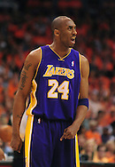 May 29, 2010; Phoenix, AZ, USA; Los Angeles Lakers guard Kobe Bryant (24) reacts during the second half in game six of the western conference finals in the 2010 NBA Playoffs at US Airways Center. The Lakers defeated the Suns 111-103. Mandatory Credit: Jennifer Stewart-US PRESSWIRE