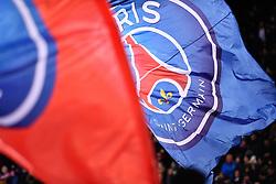 November 2, 2018 - Paris, Ile-de-France, France - The Paris Saint Germain flags waving at the first goal during the french Ligue 1 match between Paris Saint-Germain (PSG) and Lille (LOSC) at Parc des Princes stadium on November 2, 2018 in Paris, France. (Credit Image: © Julien Mattia/NurPhoto via ZUMA Press)