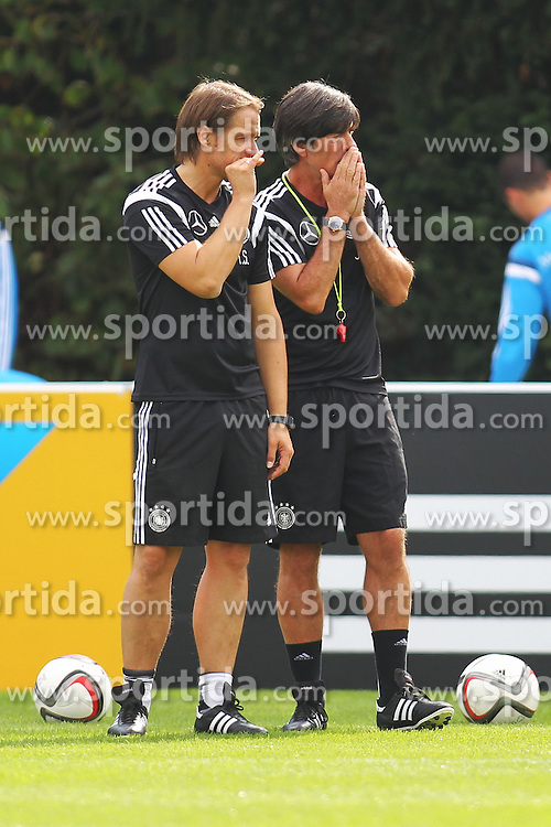 02.09.2015, Commerzbanarena, Frankfurt, GER, UEFA Euro 2016 Qualifikation, Deutschland, Training, im Bild Co-Trainer Thomas Schneider mit Trainer Joachim L&ouml;w, Loew // during a training session of german national football team in front of the UEFA European Championship Qualifier matches against Poland and Scotland. Commerzbanarena in Frankfurt, Germany on 2015/09/02. EXPA Pictures &copy; 2015, PhotoCredit: EXPA/ Eibner-Pressefoto/ Roskaritz<br /> <br /> *****ATTENTION - OUT of GER*****