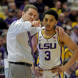 Jan 8, 2019; Baton Rouge, LA, USA; LSU Tigers head coach Will Wade and guard Tremont Waters (3) talk during a timeout in the second half against the Alabama Crimson Tide at the Maravich Assembly Center. Mandatory Credit: Derick E. Hingle-USA TODAY Sports