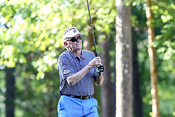 Steve Spurrier tees off on the 10th hole during the Chick-fil-A Peach Bowl Challenge at the Ritz Carlton Reynolds, Lake Oconee, on Tuesday, April 30, 2019, in Greensboro, GA. (Karl L. Moore via Abell Images for Chick-fil-A Peach Bowl Challenge)