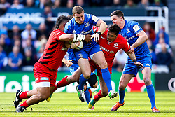 Sean Cronin of Leinster Rugby is tackled - Mandatory by-line: Robbie Stephenson/JMP - 11/05/2019 - RUGBY - St James' Park - Newcastle, England - Leinster Rugby v Saracens - Heineken Champions Cup Final