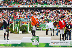 Podium Individual Jumping 1. Jeroen Dubbeldam and Zenith SFN World Champion, 2. Patrice Delaveau and Orient Express HDC, 3. Beezie Madden and Cortes C - Show Jumping Final Four - Alltech FEI World Equestrian Games™ 2014 - Normandy, France.<br />
