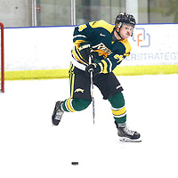 3rd year defence man, Zak Hicks (24) of the Regina Cougars during the Men's Hockey Home Game on Sat Dec 01 at Co-operators Center. Credit: Arthur Ward/Arthur Images