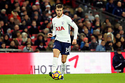 Eric Dier of Tottenham Hotspur (15)  dribbling during the Premier League match between Tottenham Hotspur and Brighton and Hove Albion at Wembley Stadium, London, England on 13 December 2017. Photo by Matthew Redman.