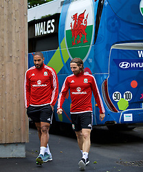 DINARD, FRANCE - Sunday, July 3, 2016: Wales' captain Ashley Williams and Joe Allen arrive for a training session at their base in Dinard as they prepare for the Semi-Final match against Portugal during the UEFA Euro 2016 Championship. (Pic by David Rawcliffe/Propaganda)