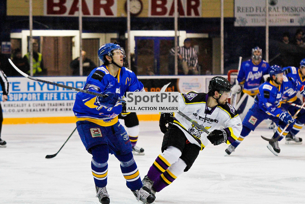 Fife Flyers V Manchester Storm, Elite Ice Hockey League, 14 November2015Fife Flyers V Manchester Storm, Elite Ice Hockey League, 14 November2015<br /> <br /> FIFE FLYERS #27 SHAYNE STOCKTON FEELS THE EFFECT OF THE STICK IN HIS FACE AGAINST MANCHESTER STORM #22 MATTHEW SISCA