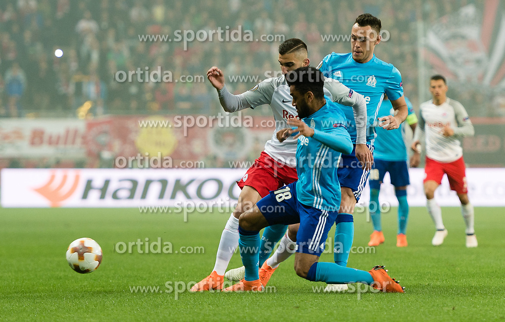 03.05.2018, Red Bull Arena, Salzburg, AUT, UEFA EL, FC Salzburg vs Olympique Marseille, Halbfinale, Rueckspiel, im Bild v.l. Munas Dabbur (FC Salzburg), Jordan Amavi (Olympique Marseille), Lucas Ocampos (Olympique Marseille)// during the UEFA Europa League Semifinal, 2nd Leg Match between FC Salzburg and Olympique Marseille at the Red Bull Arena in Salzburg, Austria on 2018/05/03. EXPA Pictures © 2018, PhotoCredit: EXPA/ Stefan Adelsberger