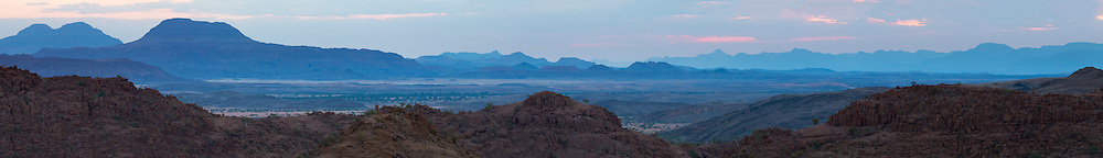 Twilight decends upon the landscape of Damaraland, Twyfelfontein, Namibia.