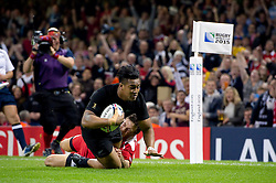 Malakai Fekitoa of New Zealand dives for the trry-line - Mandatory byline: Patrick Khachfe/JMP - 07966 386802 - 02/10/2015 - RUGBY UNION - Millennium Stadium - Cardiff, Wales - New Zealand v Georgia - Rugby World Cup 2015 Pool C.