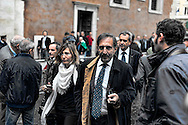 Roma 5 Novembre 2012.Il funerale di Pino Rauti fuori dalla basilica di San Marco a Piazza Venezia. Ignazio La Russa.The funeral of Pino Rauti out from the Basilica of San Marco in Venice Piazza