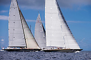 Hanuman, Lionheart, and Ranger, J Class, sailing in the St. Barth's Bucket Regatta, day one.