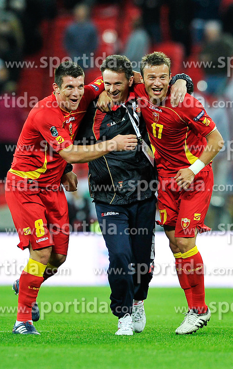12.10.2010, Wembley Stadium, London, ENG, UEFA 2012 Qualifier, England vs Montenegro, im Bild Fatos Beciraj of Montenegro and Elsad Zverotic of Montenegro celebrate at the end of the game, EXPA Pictures © 2010, PhotoCredit: EXPA/ IPS/ Sean Ryan *** ATTENTION *** UK AND FRANCE OUT!