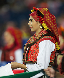 OSIJEK, CROATIA - Tuesday, October 16, 2012: A girl in traditional Croatian dress before the Brazil 2014 FIFA World Cup Qualifying Group A match between Croatia and Wales at the Stadion Gradski Vrt. (Pic by David Rawcliffe/Propaganda)