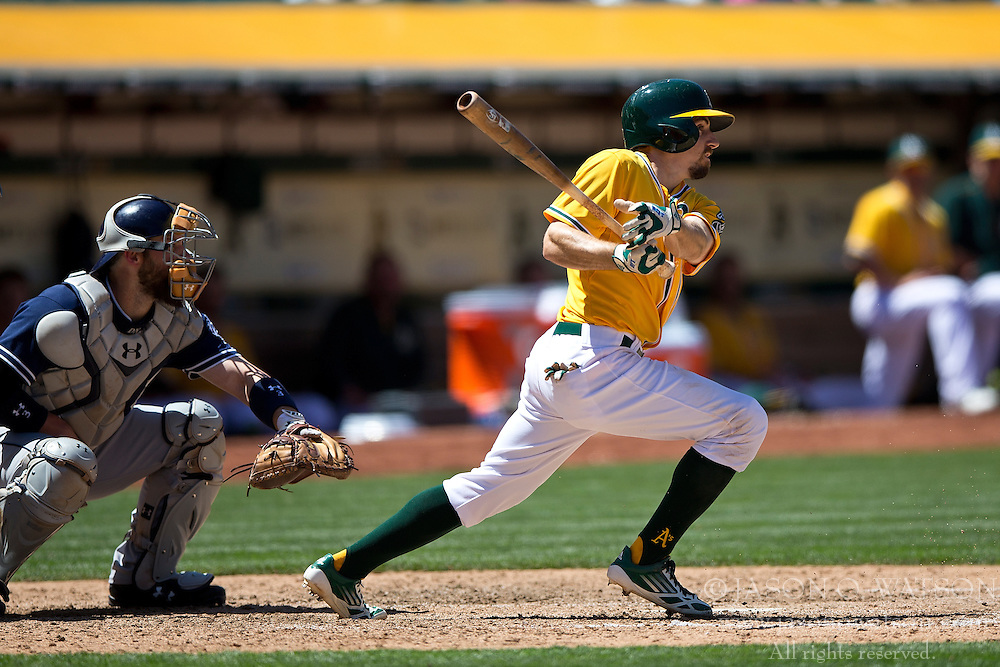 OAKLAND, CA - JUNE 18:  Billy Burns #1 of the Oakland Athletics at bat against the San Diego Padres during the eighth inning at O.co Coliseum on June 18, 2015 in Oakland, California. The San Diego Padres defeated the Oakland Athletics 3-1. (Photo by Jason O. Watson/Getty Images) *** Local Caption *** Billy Burns