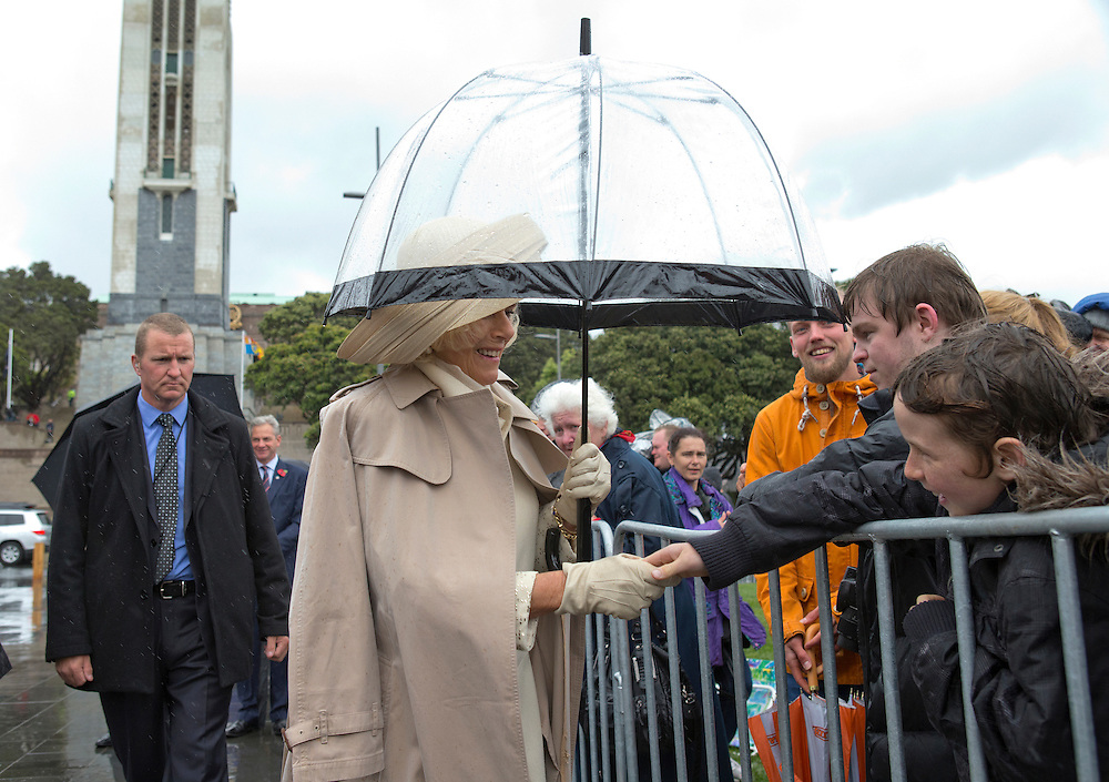 Camilla Duchess of Cornwall meeting hardy royal watchers during her walk-a-bout at Pukeahu National War Memorial Park, Wellington, New Zealand, Wednesday, November 04, 2015. Credit:SNPA / NZ Herald, Marl Mitchell **POOL**