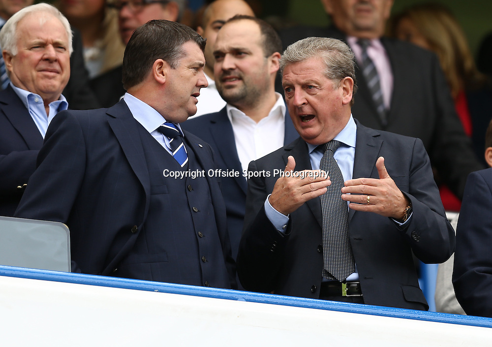 13 September 2014 - Barclays Premier League - Chelsea v Swansea City - England Manager, Roy Hodgson (R) speaks to Ron Gourlay, Chief Executive of Chelsea Football Club - Photo: Marc Atkins / Offside.