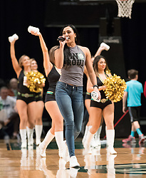 March 20, 2017 - Reno, Nevada, U.S - Sacramento Kings Master of Ceremonies Kat Kountouris during the NBA D-League Basketball game between the Reno Bighorns and the Texas Legends at the Reno Events Center in Reno, Nevada. (Credit Image: © Jeff Mulvihill via ZUMA Wire)