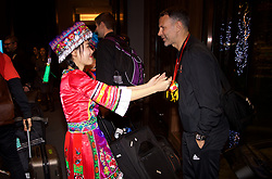 NANNING, CHINA - Monday, March 19, 2018: Wales' new manager Ryan Giggs is greeted by a woman in traditional costume as the team arrive at the Wanda Realm Resort in Nanning for the 2018 Gree China Cup International Football Championship. (Pic by David Rawcliffe/Propaganda)