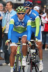 Kristjan Koren and Borut Bozic during the Men's Elite Road Race at the UCI Road World Championships on September 25, 2011 in Copenhagen, Denmark. (Photo by Marjan Kelner / Sportida Photo Agency)