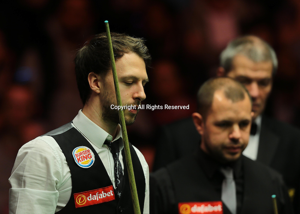 16.01.2016.  Alexandra Palace, London, England. Masters Snooker. Semi Finals. Judd Trump reacts to missing a vital red and giving Barry Hawkins a match winning chance