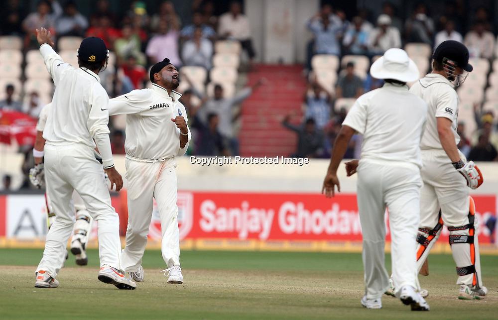 Indian bowler Harbhajan Singh celebrates After taken New Zealand batsman Kane Williamson wicket during the Indian vs New Zealand 2nd test match day-5 Played at Rajiv Gandhi International Stadium, Uppal, Hyderabad 16 November 2010 (5-day match)