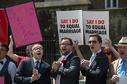 House of Lords.<br /> Protestors outside the House of Lords ahead of the Lords debating the Gay Marriage Bill. Pic Shows Anti-same sex marriage protesters outside Parliament, London, UK,<br /> Monday 3rd, June 2013<br /> Picture by i-Images