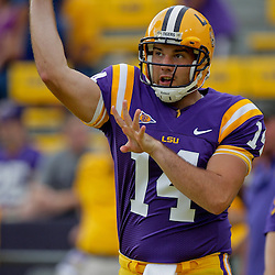 19 September 2009: LSU Tigers quarterback Chris Garrett (14) during warm ups before a 31-3 win by the LSU Tigers over the University of Louisiana-Lafayette Ragin Cajuns at Tiger Stadium in Baton Rouge, Louisiana.