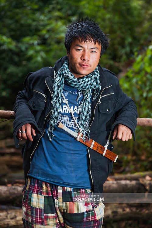 Portrait of a boy belonging to the Apatani tribe of Hong village, Ziro, Arunachal Pradesh