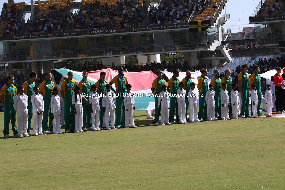 South Africa lines up for the natinoal anthem. ICC Cricket World Cup 2011. Africa v England. MA Chidambaram Stadium, Chepauk, Chennai, 6 March 2011. Photo: photosport.co.nz